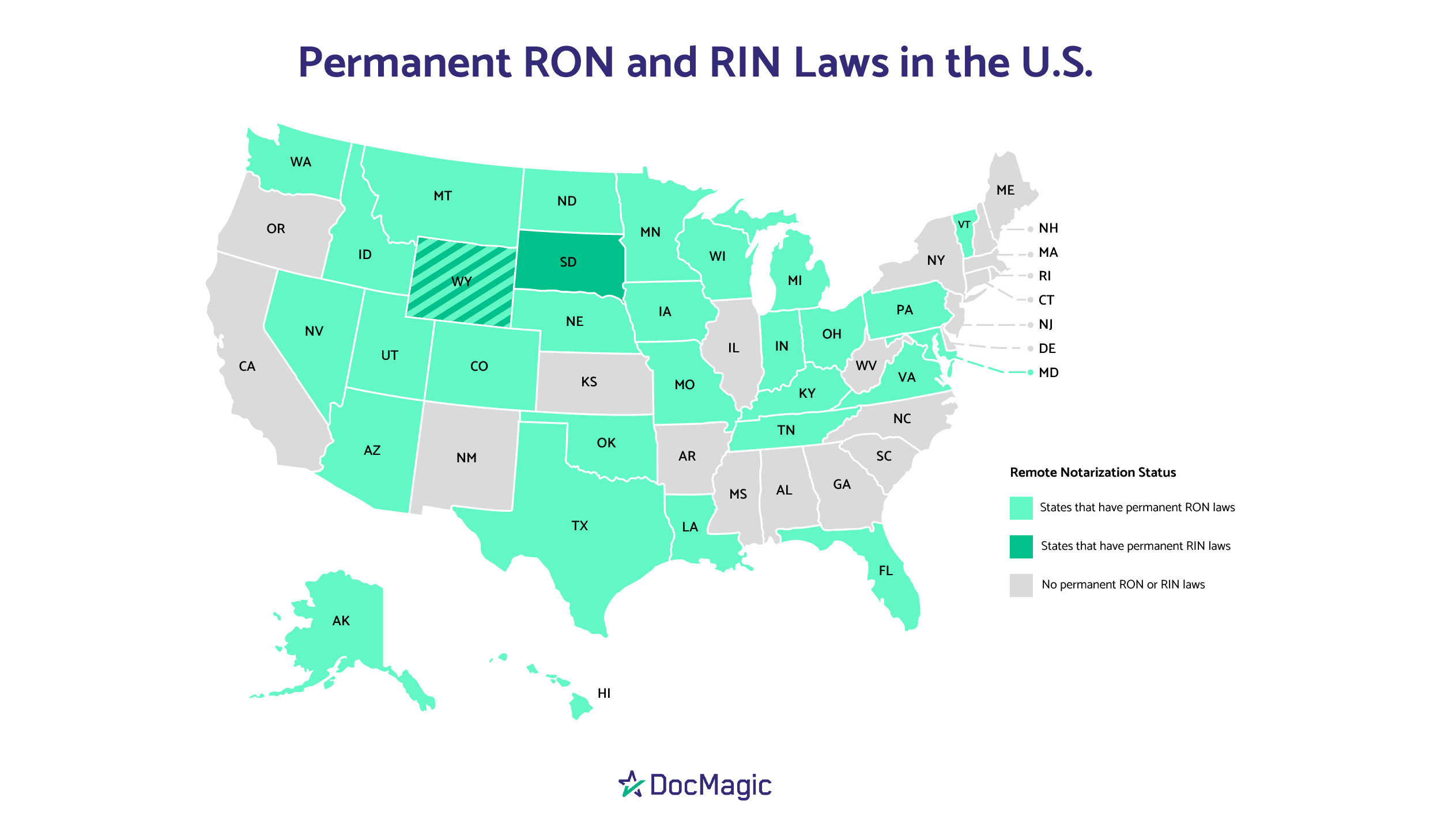 There are now 29 states with permanent remote online notarization (RON) laws, while two have permanent remote ink-signed notarization laws.